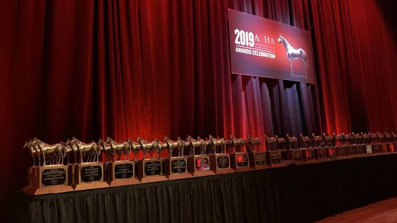 A line of trophies on a table in front of a red curtain.
