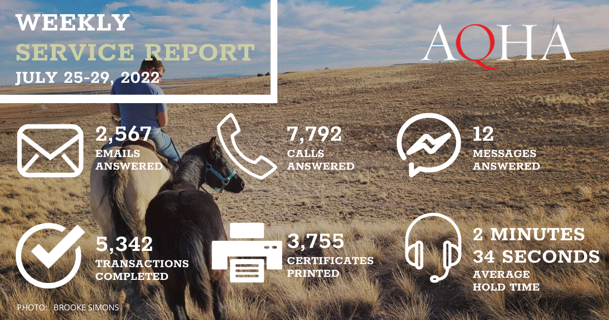 Horse tacked up standing near fence is the background for this graphic. AQHA Weekly Service Report for February 22-26, 2021: 4,368 emails answered 6,856 calls answered 57 messages answered 7,832 transactions completed 5,442 certificates printed 2 minute 15 seconds average hold time