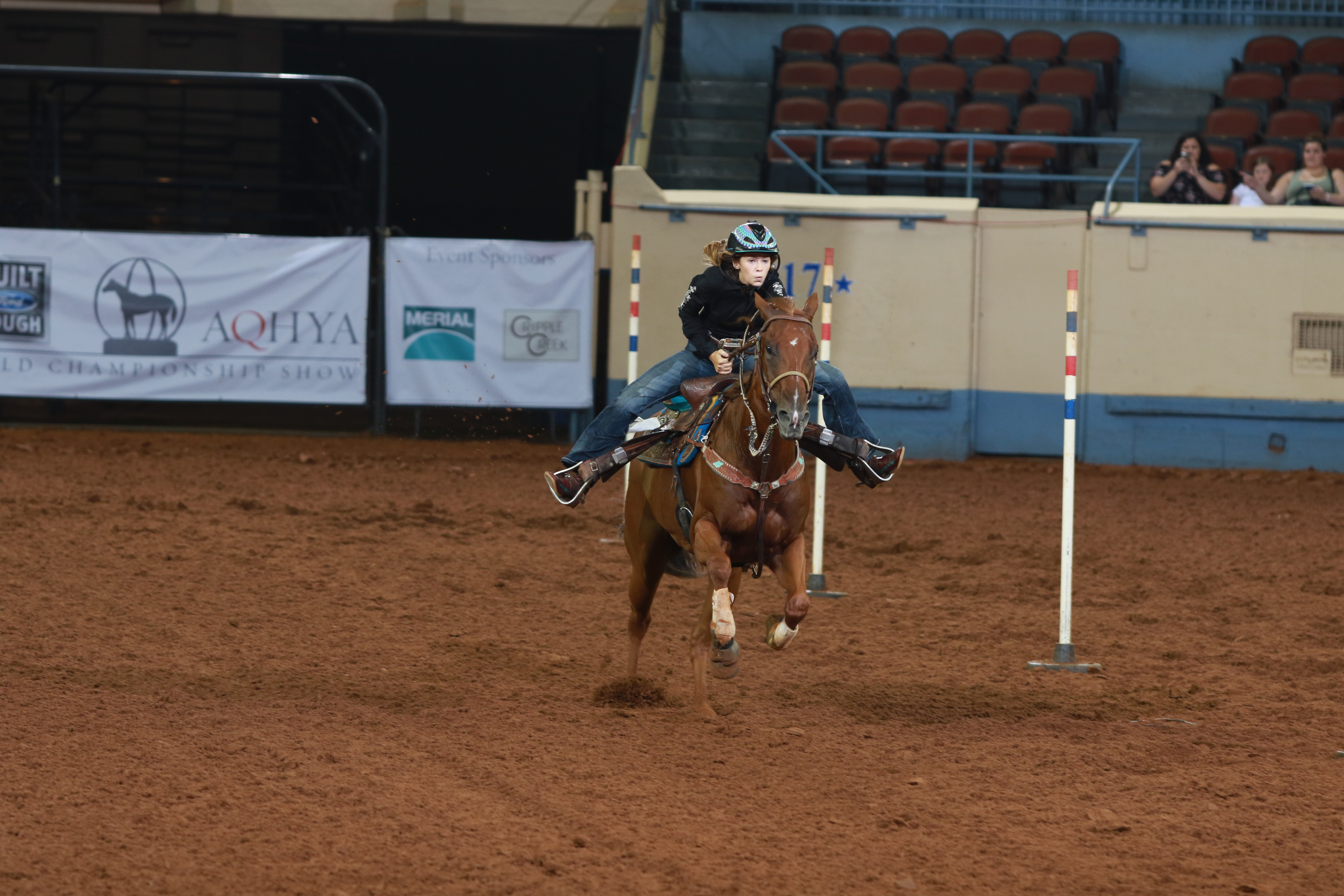 A girl in a helmet runs down a line of poles on her horse.
